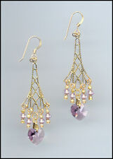 Sparkling Gold Earrings with Swarovski LIGHT AMETHYST Crystal Hearts
