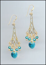 Sparkling Gold Earrings with Swarovski TEAL BLUE ZIRCON Crystal Hearts
