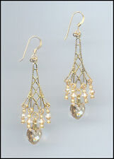 Sparkling Gold Earrings with Swarovski GOLDEN SHADOW Crystal Hearts