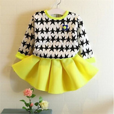 New Set Clothes Baby Girl Solid Skirt +Five Star Tops Set Children Clothing
