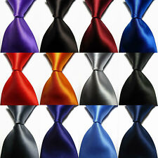 Classic Solid Plain Pure Colors Jacquard Woven Wed 100% Silk Men's Tie Necktie@