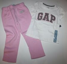 baby Gap NWT Girls Outfit Set Arch Logo T Top & Pink Sweat Pants