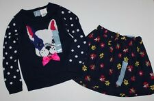 baby Gap NWT Girls Outfit Set Navy Blue Dog Sweater & Floral Skirt