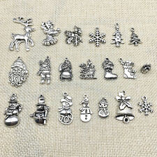 New Lot Tibet Silver Christmas X-mas Santa Claus Charm Pendants Jewelry Findings