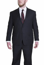Mens Classic Fit Solid Black Two Button Super 140's Wool Suit