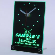 tncpi-tm Golf 19th Hole Personalized Bar Beer Decor Neon Led Table Clock