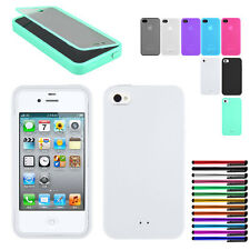 TPU Matte Wrap Up Phone Case Cover With Built In Screen Protector For iPhone 4S