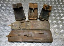 Genuine Vintage Military Issue Long Brown Leather Ammo / Utility Pouch Damaged