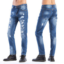 Mens Vintage Casual Cotton Pants Washed Ripped Broken Hole Jeans Denim Joggers