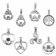 Celtic Heart Claddagh Irish Sterling Silver Bracelet or Necklace Charm / Pendant