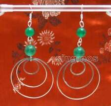 SALE Fashion Green 8-10mm Natural Jade and 3 piece metal Ring 3.5'' Earring-617