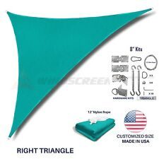 Sun Shade Sail Turquoise Permeable UVTop Outdoor Canopy Awning Cover W/8'' SWKit