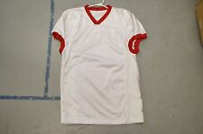 BLANK WHITE w Red Collar Cuffs Authentic Arena Fantasy Football League Jersey