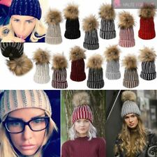 WOMENS NEW CUSTOMIZABLE FAUX REAL FUR POM POM DIAMANTE KNITTED BEANIE HAT