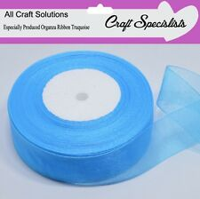 TURQUOISE - WOVEN EDGE ORGANZA RIBBON - 7mm, 15mm, 25mm, 38mm  25-50 YARDS
