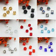 Square Crystal Faceted Loose 10Pcs Cube 4mm/6mm Glass Spacer Beads DIY