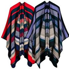 Lady Scarf Sweater Plaid Poncho Cape Poncho Blouse Blanket Cloak Wrap Shawl R8M4