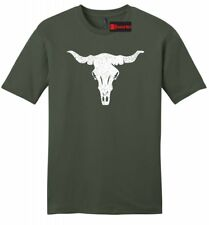 Distressed Longhorn Mens Soft T Shirt Country Cow Skull Graphic Tee Z2