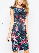 NWT $178 FCUK French Connection Bodycon Abstract floral print dress S sz 4 / 6