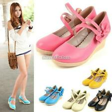 Women's Wedge Classic Bowknot Shoes BE0D Hot Sweet Casual Round Toe N98B