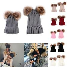 Newborn Cute Toddle Boys Girls Womens Winter Beanie Knitted Hats 2 Sets