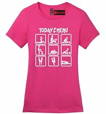 Today's Menu Sex Positions Funny Ladies Soft T Shirt Adult Humor Sex Graphic Z4