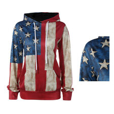 Long-sleeved casual loose personality 1Pcs hooded American flag Hoodies sweater