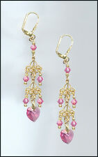 Delicate Gold Earrings with Swarovski ROSE PINK Crystal Hearts GIFT BOXED