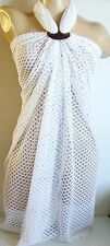 WHITE CROCHET LARGE LONG BEACH SARONG PAREO WRAP WITH FREE COCONUT SHELL BUCKLE