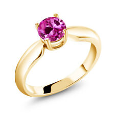 1.00 Ct Round Pink Created Sapphire 18K Yellow Gold Plated Silver Ring