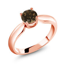 0.80 Ct Round Brown Smoky Quartz 18K Rose Gold Plated Silver Ring