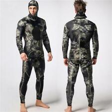 Mens 3mm Camouflage 2 Piece Wetsuit Thermal Surf Diving Spearfishing Hooded Suit