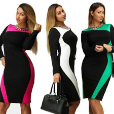 Women's Long Sleeve Dress Large Size Dress Trendy Two Colors Round Neck