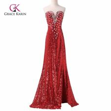 Sexy Evening Dress Grace Karin Red Sparkling Slit Mermaid Prom Dress Long Sequin