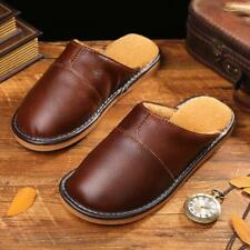 Mens Casual Indoor Cow Leather Slippers Close Toe Lining Fur House Slip On Flats