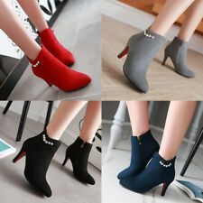 Winter Women Ankle Boots Pointed Shoes Stiletto Heel Suede Fashion Boots
