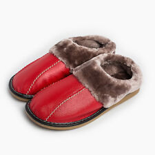 Warm Women House Slippers Fuzzy Cow Leather  Fleece Lined Home Shoes for Lovers