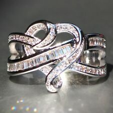 4.2CT White Topaz Infinity 925 Silver Jewelry Wedding Engagement Ring Size 6-10