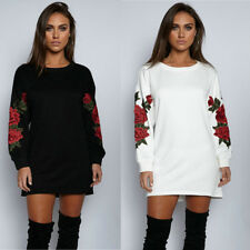 UK Womens Long Sleeve Floral Pullover Long Tops Blouse Casual T Shirt Mini Dress