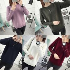 Women Fashion Korean Style Pullover Sweater Long Sleeve Knit Blouse Tops