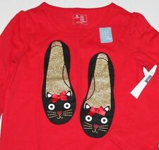 baby Gap NWT Girls Red Top Shirt Glittered Cat Shoes Graphics & 3D Bows