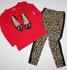 baby Gap NWT Girls 2T 3T 4T 5T Outfit Top w/ Shoe Graphics + Leopard Leggings