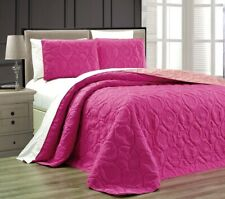 Twin Queen Cal King Bed Hot Pink Beach Coastal Seashells 3 pc Quilt Set Coverlet