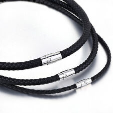 New long genuine leather black braided cord chain stainless steel clasp necklace