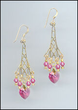 Sparkling Gold Earrings with Swarovski ROSE PINK Crystal Hearts