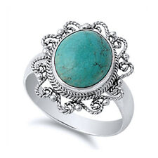 Women 19mm 925 Silver Simulated Turquoise Cocktail Vintage Antique Ring Band