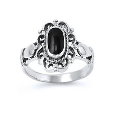 Women 17mm 925 Sterling Silver Black Onyx Vintage Antique Cocktail Ring Band