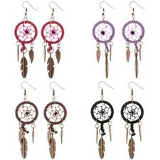 Dreamcatcher Earrings Dangle Stud Silver Ethnic American Feather Dream Bohemia