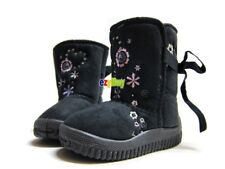 Grey Winter Rubber Mock Suede Girls Boots
