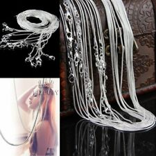 """Wholesale 925 Silver Plated Necklace Chain 1mm-2mm Snake Chain 16""""18""""20""""22""""24"""""""